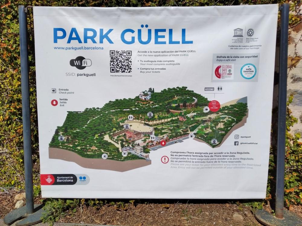 グエル公園の地図