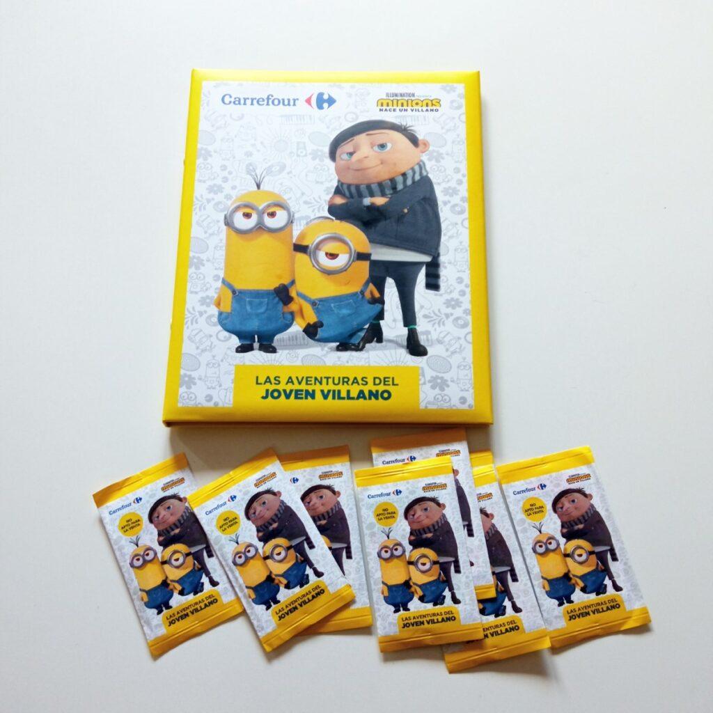 Álbum de cromos y sobres de la promoción Los Minions de Carrefour
